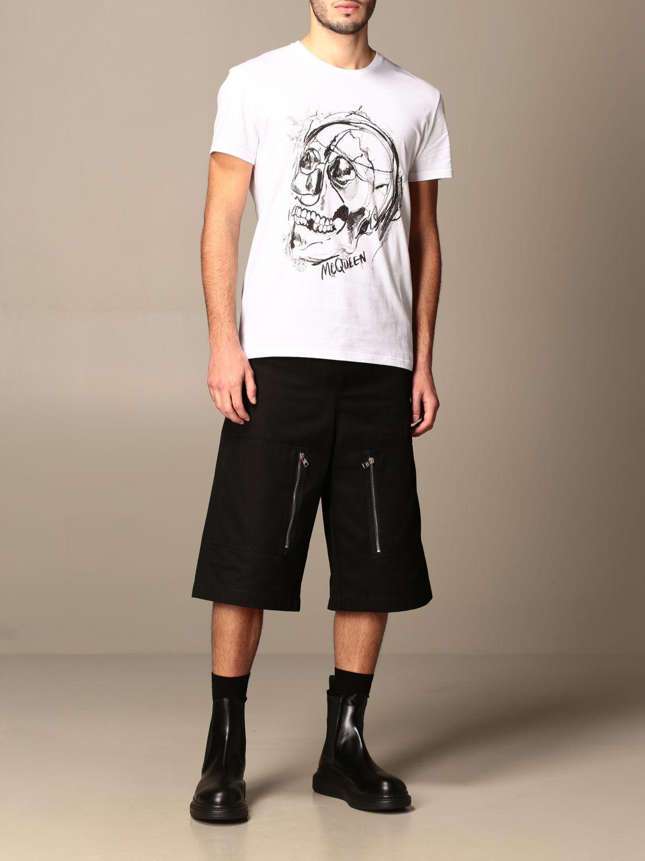 T-shirt Alexander Mcqueen: Alexander McQueen cotton T-shirt with skull white 2