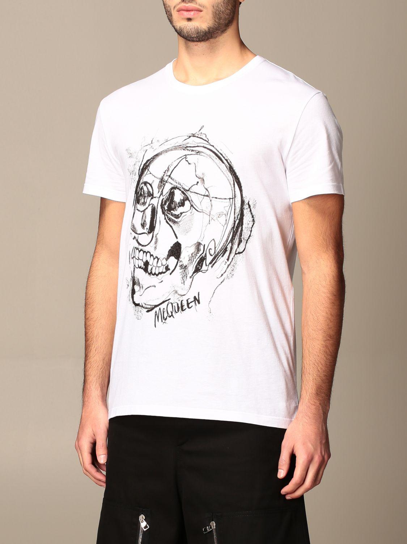 T-shirt Alexander Mcqueen: Alexander McQueen cotton T-shirt with skull white 4