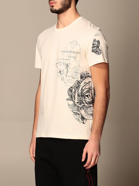 T-shirt Alexander Mcqueen: Alexander McQueen t-shirt in cotton with prints cream 4