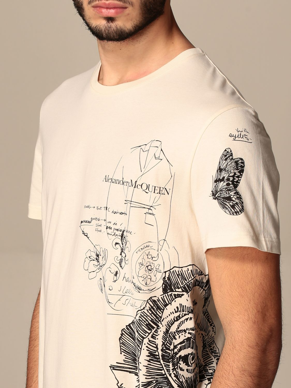 T-shirt Alexander Mcqueen: Alexander McQueen t-shirt in cotton with prints cream 5