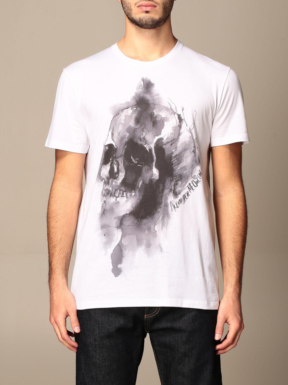 T-shirt Alexander Mcqueen: T-shirt Alexander McQueen in cotone con teschio bianco 1
