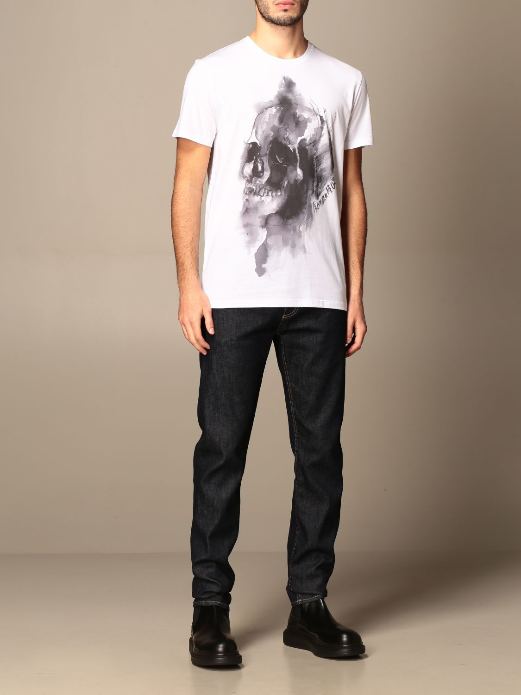 T-shirt Alexander Mcqueen: T-shirt Alexander McQueen in cotone con teschio bianco 2