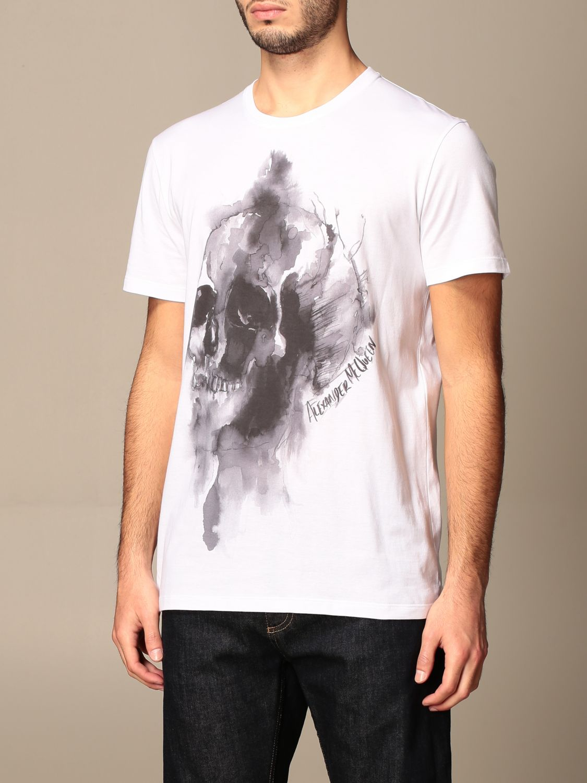 T-shirt Alexander Mcqueen: T-shirt Alexander McQueen in cotone con teschio bianco 4