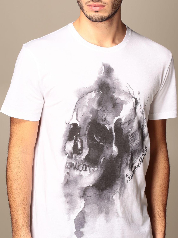 T-shirt Alexander Mcqueen: T-shirt Alexander McQueen in cotone con teschio bianco 5