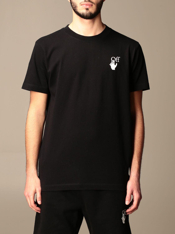 T-shirt Off White: Off White cotton t-shirt with back print fuchsia 1