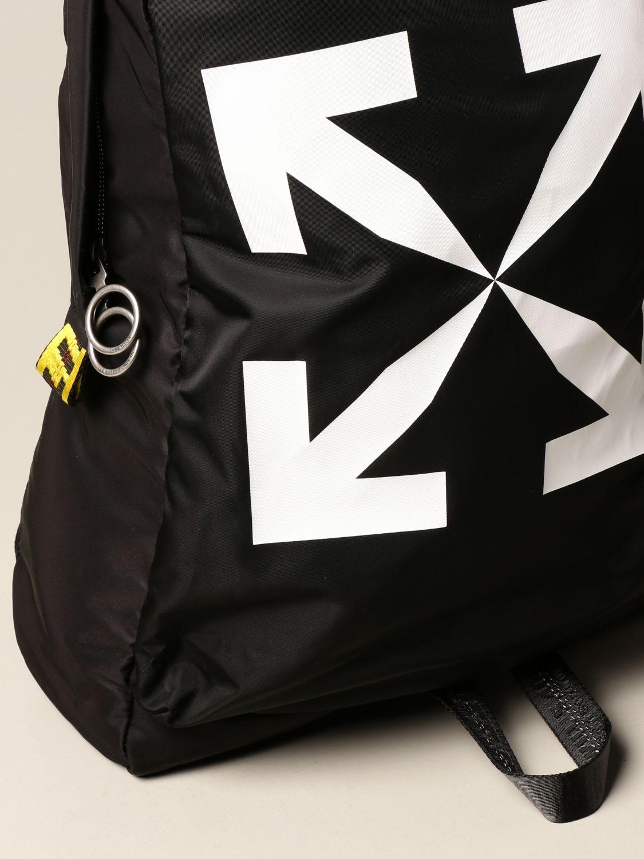 Zaino Off White: Zaino Off White in tessuto tecnico con stampa nero 4