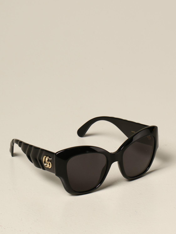 Occhiali Gucci: Occhiali da sole Gucci in acetato con logo GG nero 1