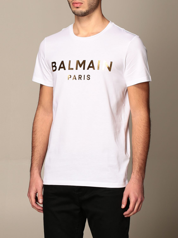 T-shirt Balmain: Balmain cotton T-shirt with laminated logo white 4