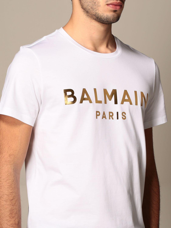 T-shirt Balmain: Balmain cotton T-shirt with laminated logo white 5