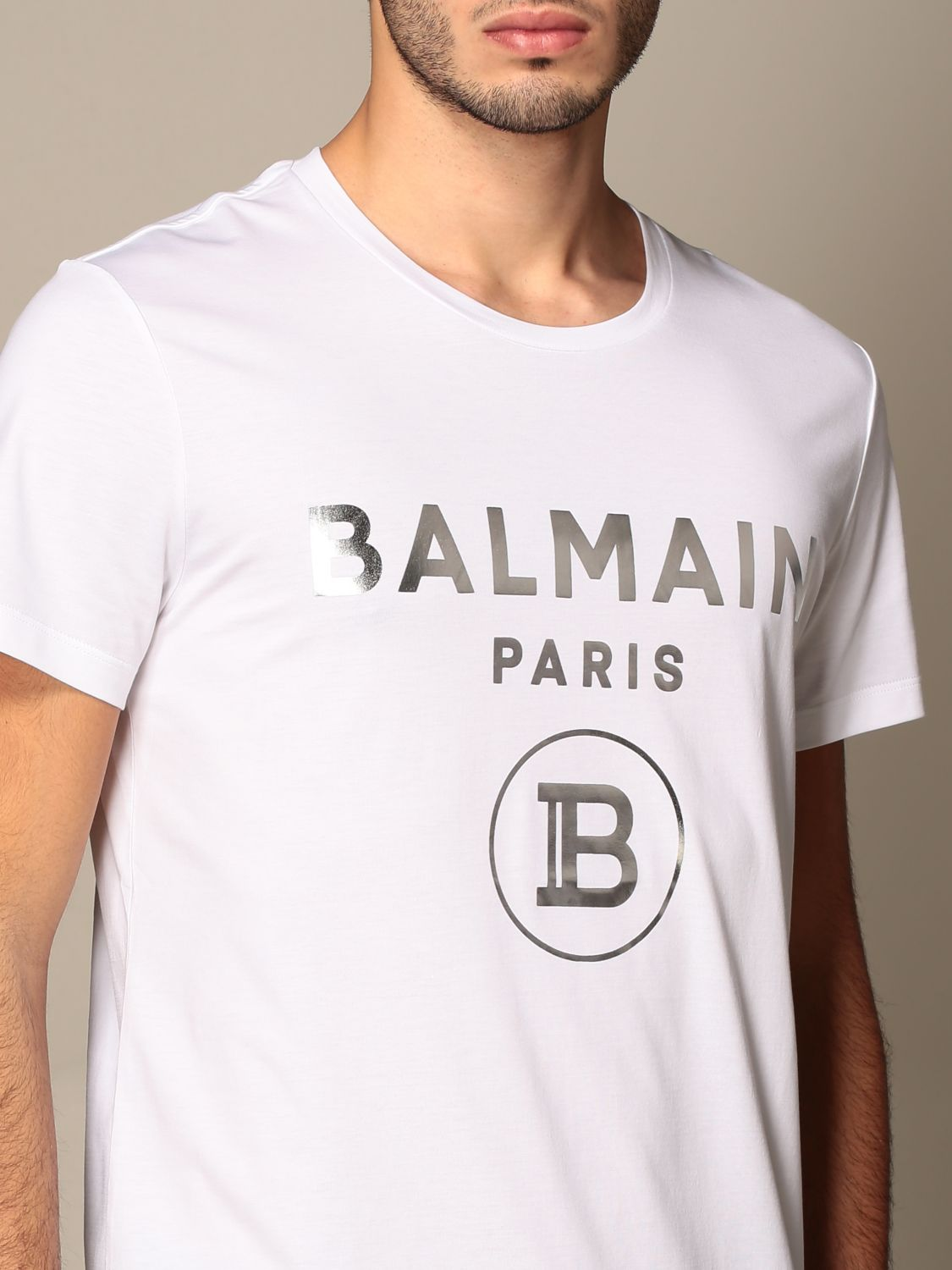 T-shirt Balmain: Balmain cotton T-shirt with laminated logo white 5