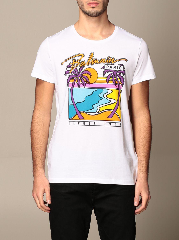 T-shirt Balmain: T-shirt Balmain in cotone con logo e stampa palme bianco 1