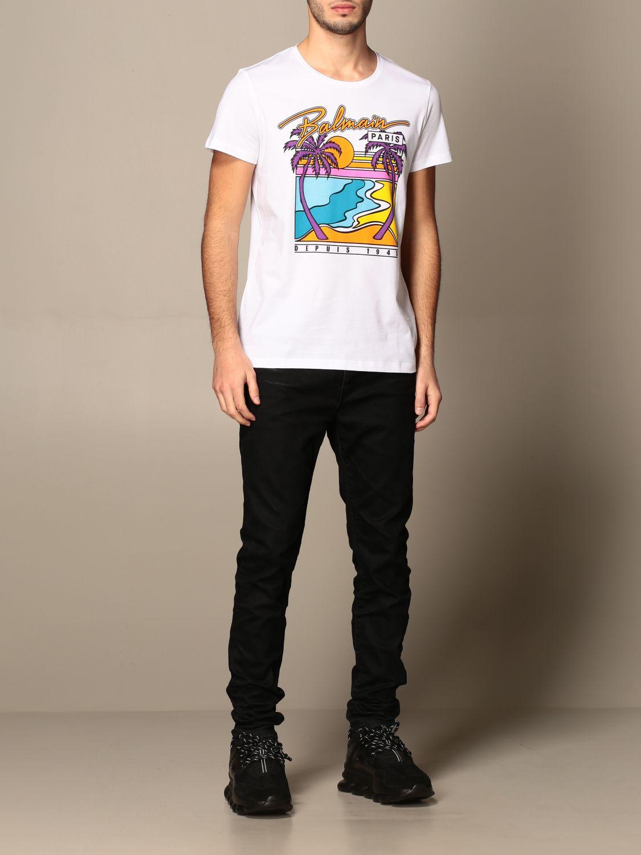 T-shirt Balmain: T-shirt Balmain in cotone con logo e stampa palme bianco 2