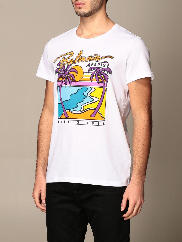 T-shirt Balmain: T-shirt Balmain in cotone con logo e stampa palme bianco 4