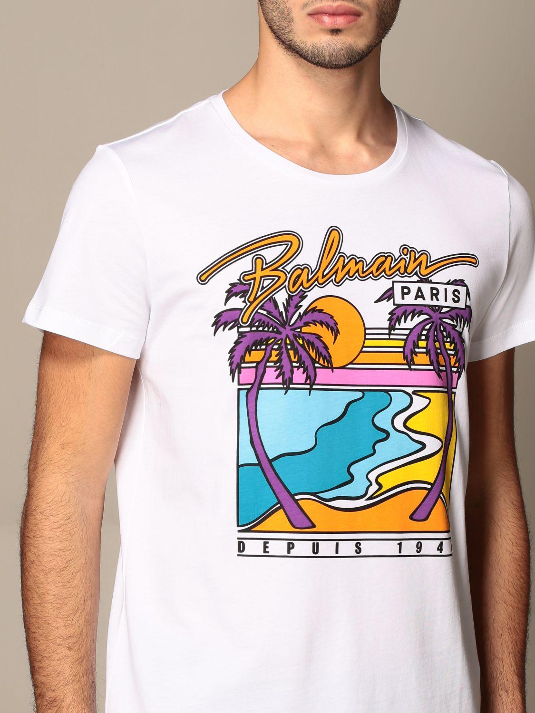 T-shirt Balmain: T-shirt Balmain in cotone con logo e stampa palme bianco 5