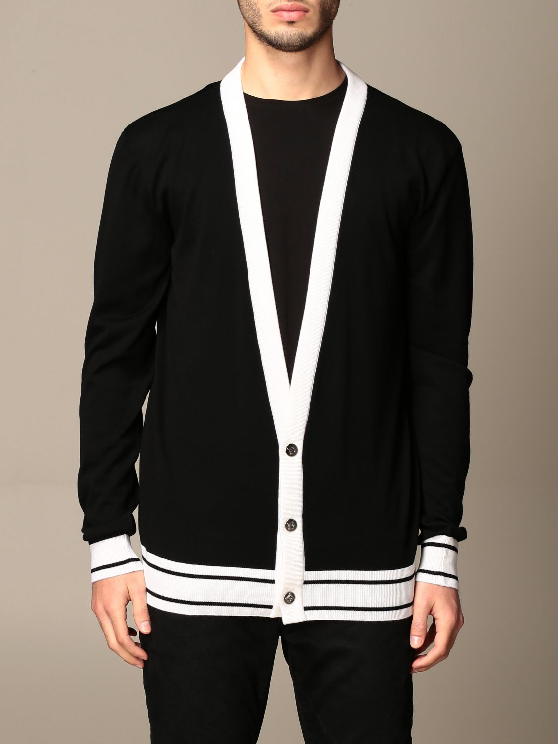 Cardigan Balmain: Balmain v-neck cardigan with back logo blue 1