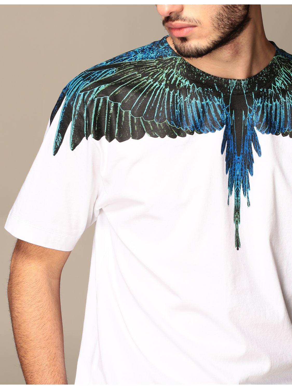 T-shirt Marcelo Burlon: Marcelo Burlon cotton t-shirt with bird feathers white 5