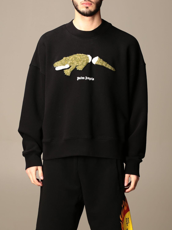 Felpa Palm Angels: Felpa a girocollo Palm Angels in cotone con stampa coccodrillo nero 1