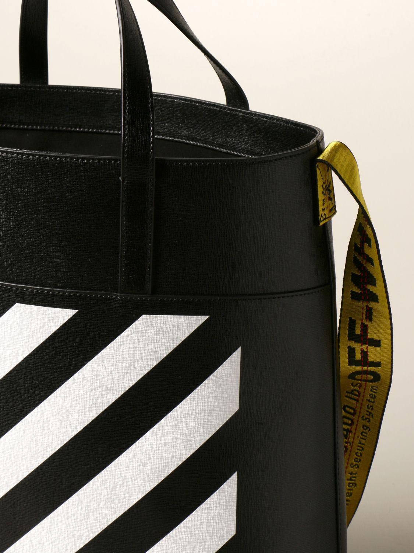 Borsa Off White: Borsa Diag Off White in pelle saffiano con stampa diagonale nero 4