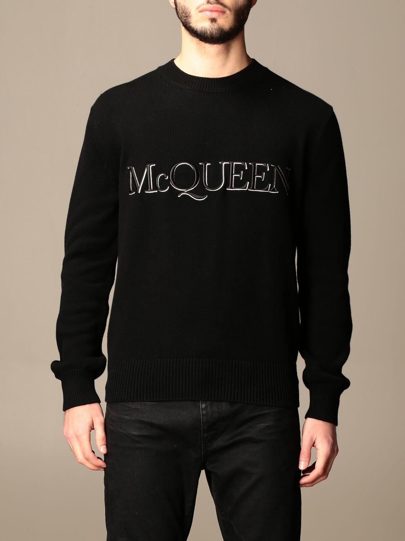 Maglia Alexander Mcqueen: Maglia a girocollo Alexander McQueen con logo nero 1