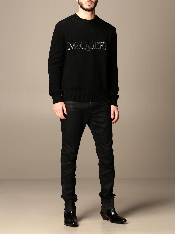 Maglia Alexander Mcqueen: Maglia a girocollo Alexander McQueen con logo nero 2