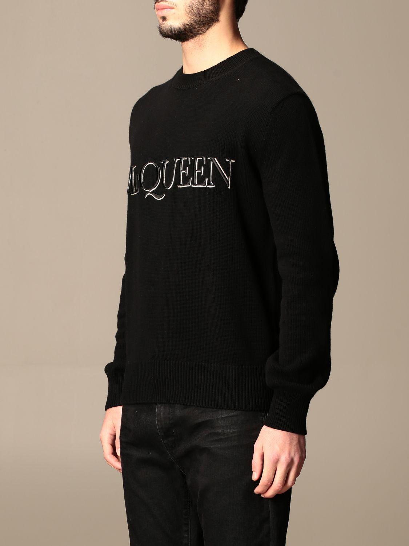 Maglia Alexander Mcqueen: Maglia a girocollo Alexander McQueen con logo nero 4