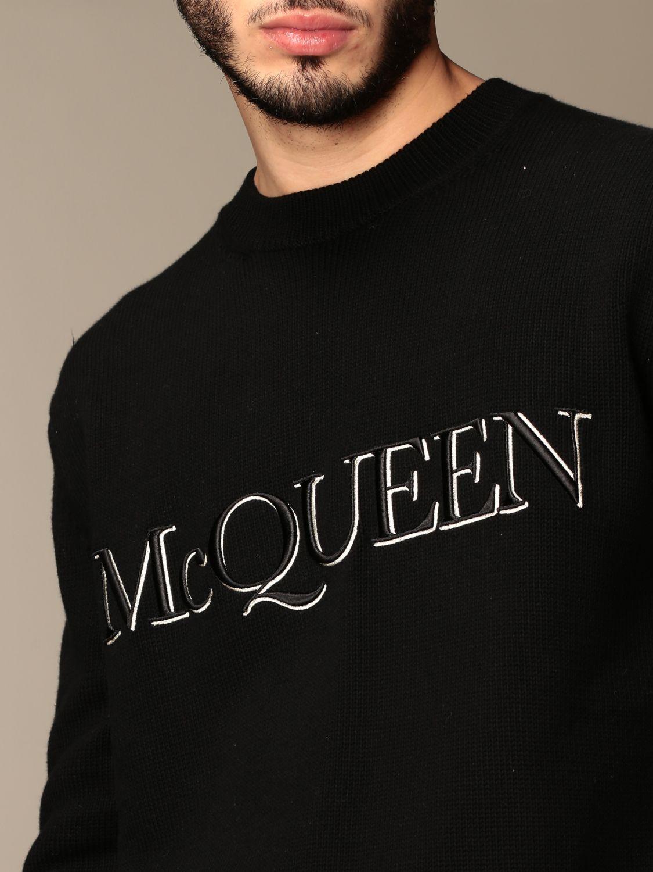 Maglia Alexander Mcqueen: Maglia a girocollo Alexander McQueen con logo nero 5