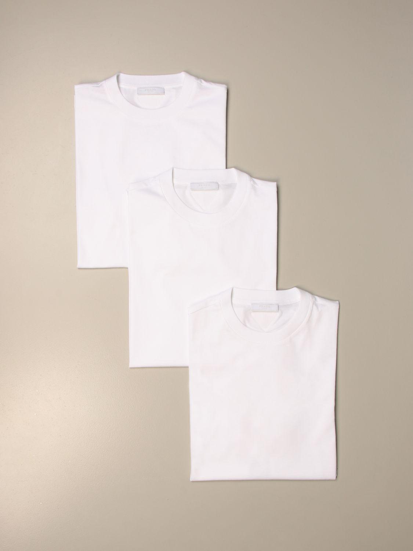 T-shirt Prada: Set 3 t-shirts Prada basic in cotone bianco 2