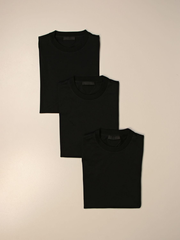 T-shirt Prada: Set 3 t-shirts Prada basic in cotone nero 2