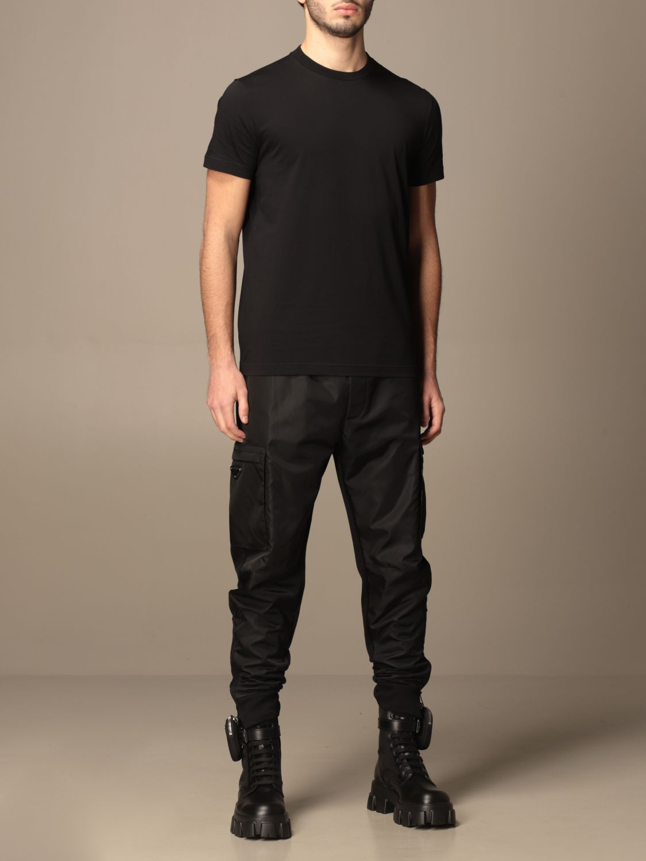 T-shirt Prada: Set 3 t-shirts Prada basic in cotone nero 4