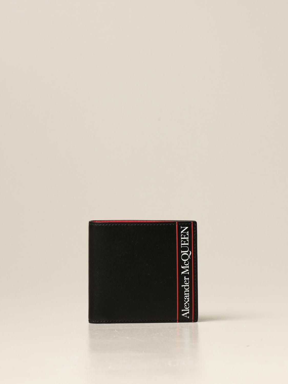 Portafoglio Alexander Mcqueen: Portafoglio Alexander McQueen in pelle con logo nero 1