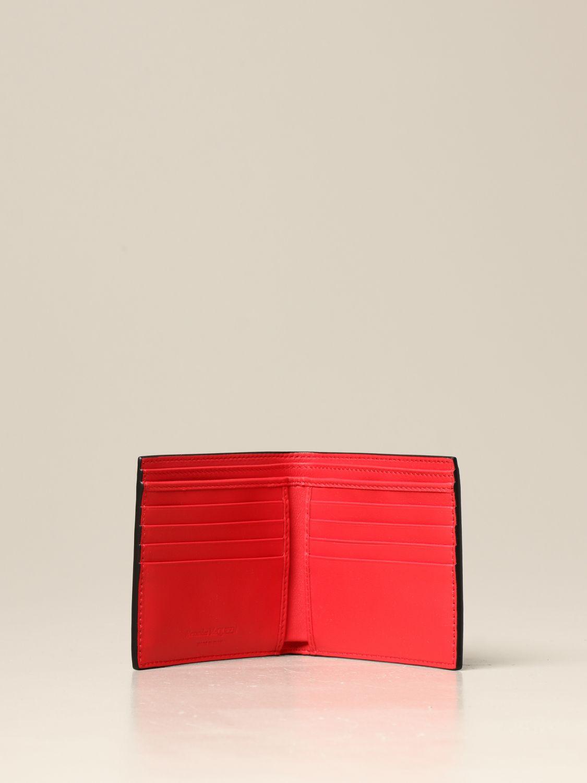 Portafoglio Alexander Mcqueen: Portafoglio Alexander McQueen in pelle con logo nero 2