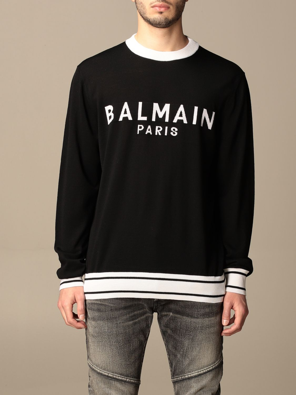 Jumper Balmain: Balmain crewneck sweater with logo black 1