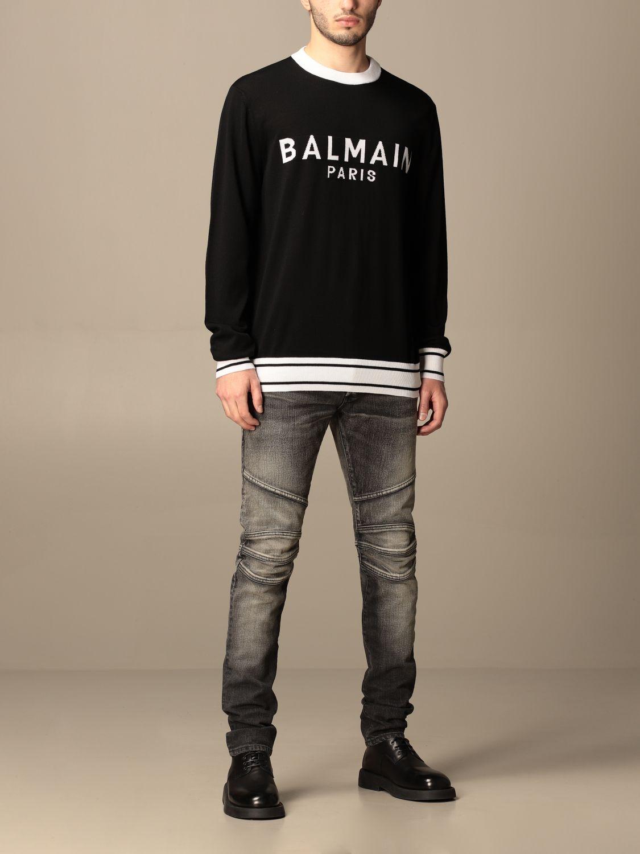 Jumper Balmain: Balmain crewneck sweater with logo black 2