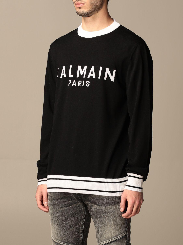 Jumper Balmain: Balmain crewneck sweater with logo black 4