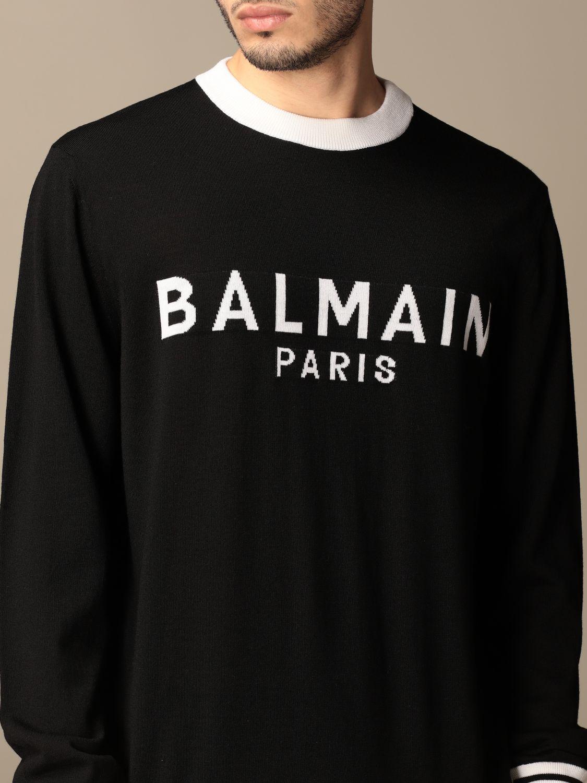 Jumper Balmain: Balmain crewneck sweater with logo black 5