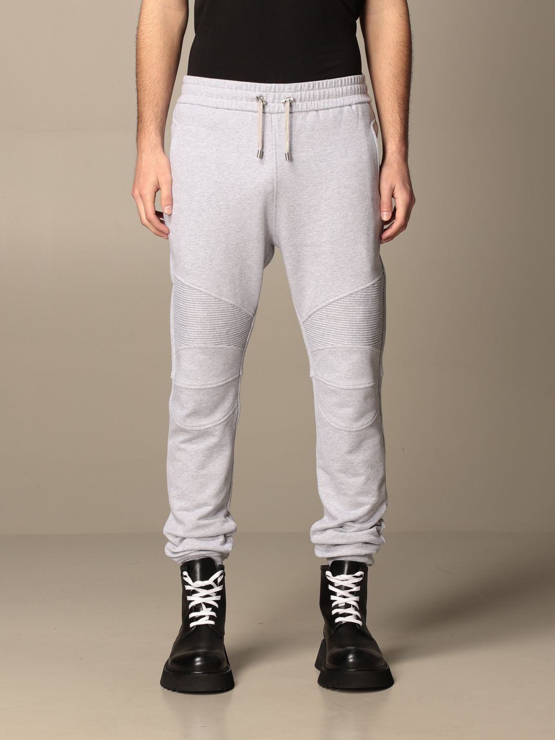 Trousers Balmain: Balmain cotton jogging trousers with logo grey 1