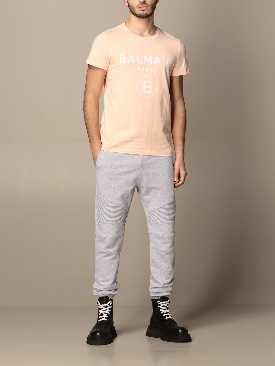 Trousers Balmain: Balmain cotton jogging trousers with logo grey 2