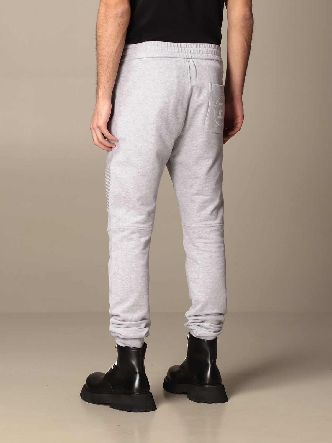 Trousers Balmain: Balmain cotton jogging trousers with logo grey 3