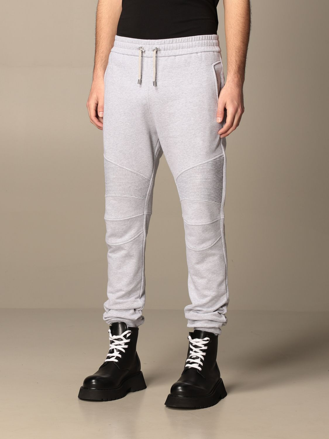 Trousers Balmain: Balmain cotton jogging trousers with logo grey 4