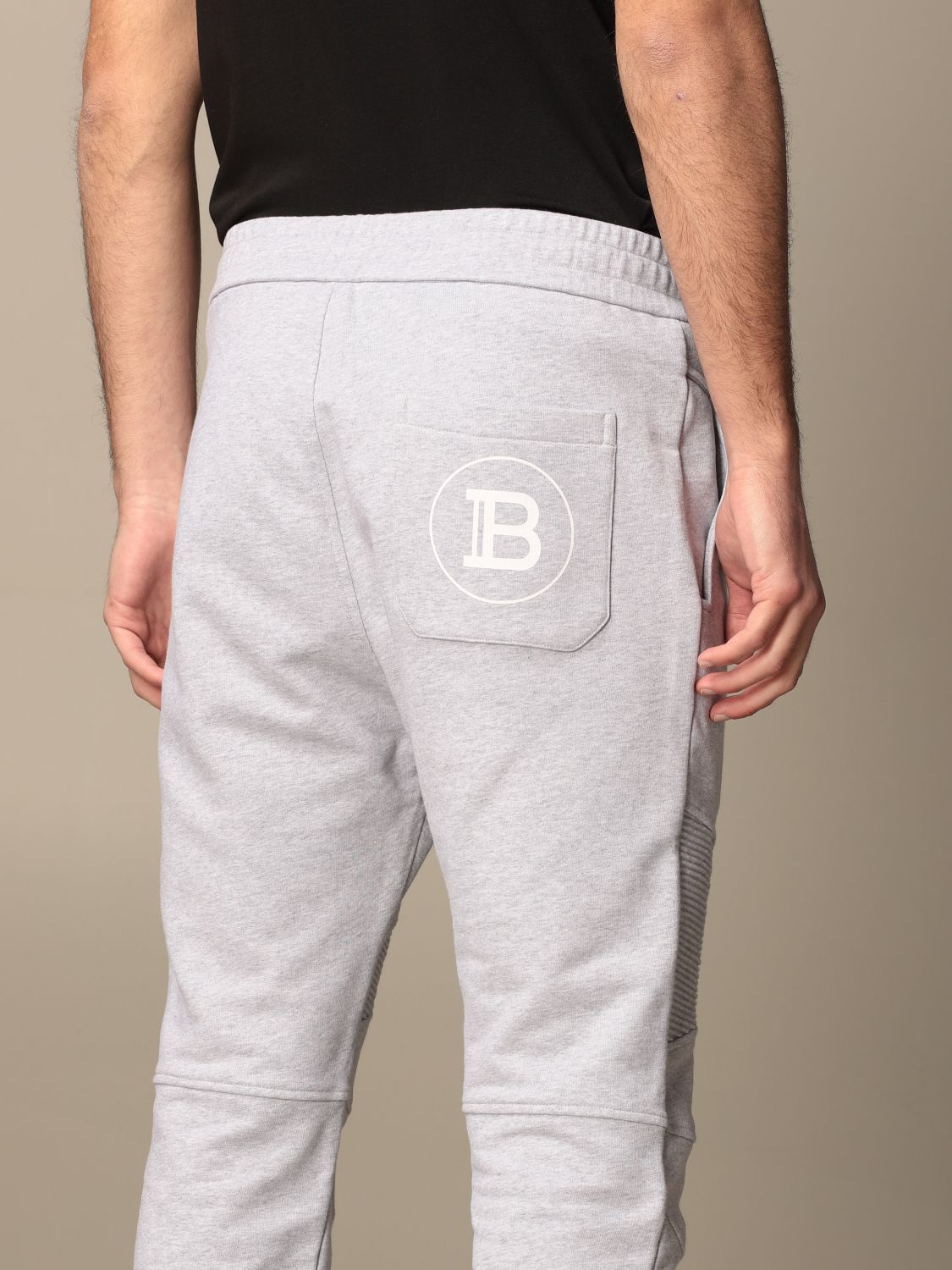 Trousers Balmain: Balmain cotton jogging trousers with logo grey 5