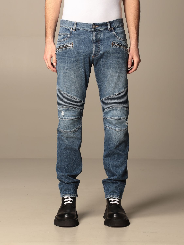 Trousers Balmain: Balmain jeans in used denim with logo blue 1
