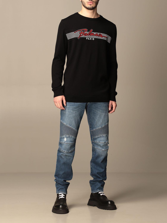 Trousers Balmain: Balmain jeans in used denim with logo blue 2