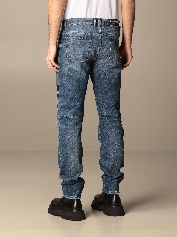 Trousers Balmain: Balmain jeans in used denim with logo blue 3