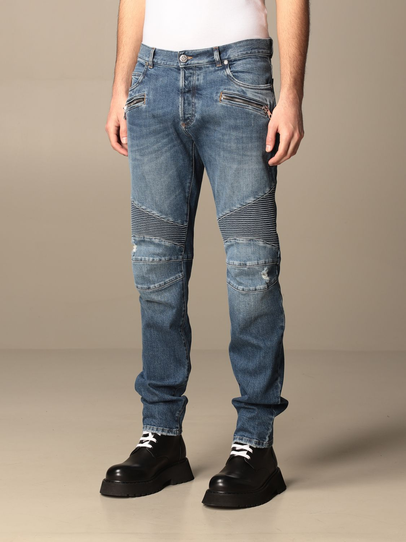 Trousers Balmain: Balmain jeans in used denim with logo blue 4