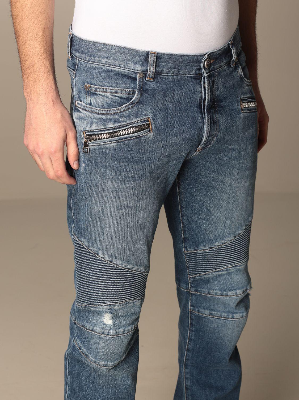 Trousers Balmain: Balmain jeans in used denim with logo blue 5