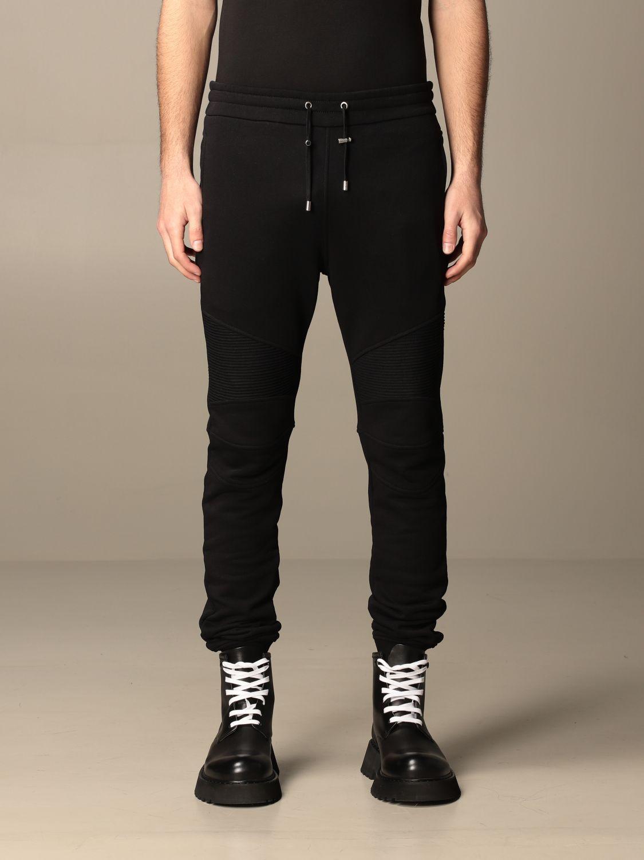 Trousers Balmain: Balmain cotton jogging trousers black 1