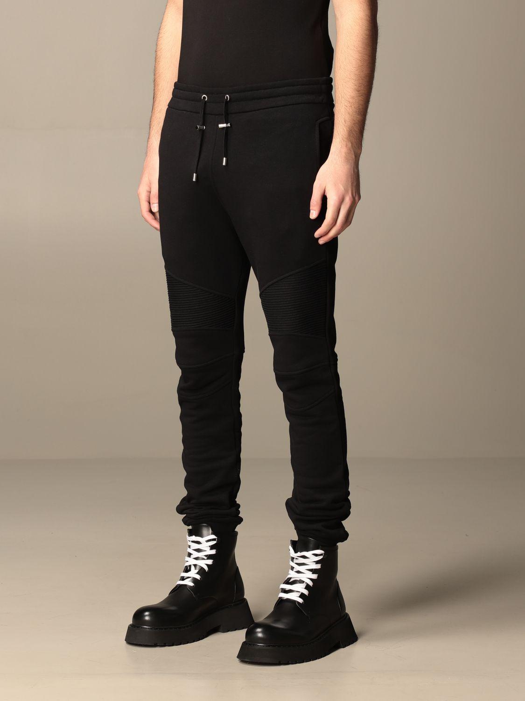 Trousers Balmain: Balmain cotton jogging trousers black 4