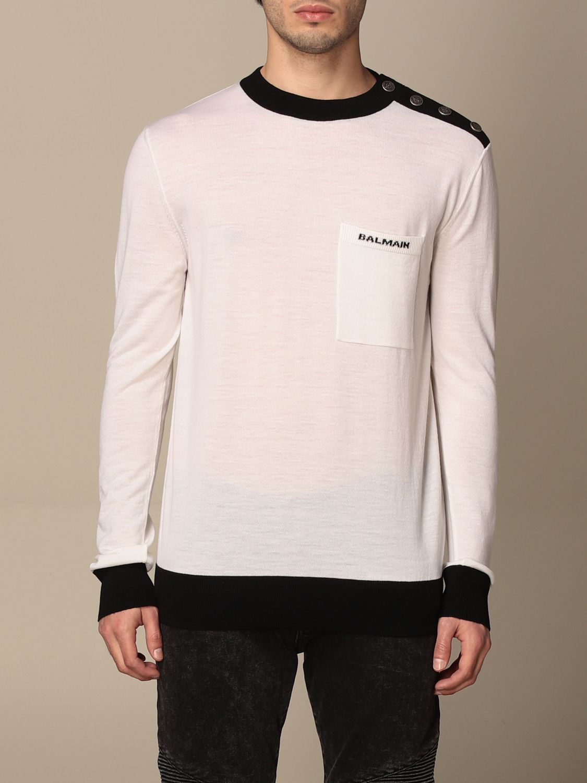 Maglia Balmain: Maglia a girocollo Balmain con bottoni e logo bianco 1