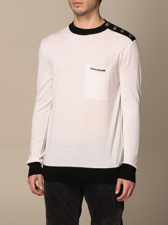 Maglia Balmain: Maglia a girocollo Balmain con bottoni e logo bianco 4