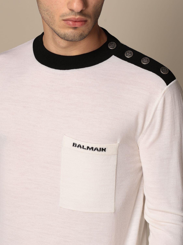 Maglia Balmain: Maglia a girocollo Balmain con bottoni e logo bianco 5